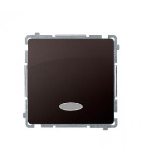 Łącznik jednobiegunowy z podświetleniem LED nie wymienialny kolor niebieski (moduł) 10AX 250V, szybkozłącza, czekoladowy mat, me