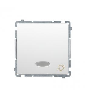 """Przycisk """"dzwonek"""" z podświetleniem LED nie wymienialny kolor niebieski (moduł) 10AX 250V, szybkozłącza, biały BMD1L.01/11"""