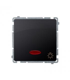 """Przycisk """"światło"""" z podświetleniem LED nie wymienialny kolor niebieski (moduł) 10AX 250V, szybkozłącza, grafit mat, metalizowan"""