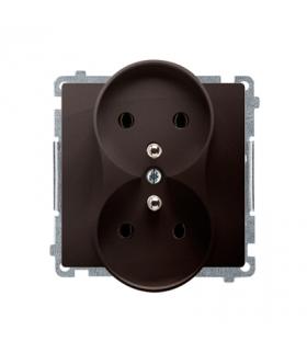 Gniazdo wtyczkowe podwójne z uziemieniem czekoladowy mat, metalizowany 16A BMGZ2M.01/47