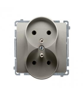 Gniazdo wtyczkowe podwójne z uziemieniem z przesłonami satynowy, metalizowany 16A BMGZ2MZ.01/29
