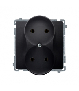 Gniazdo wtyczkowe podwójne bez uziemienia grafit mat, metalizowany 16A BMG2M.01/28