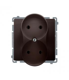 Gniazdo wtyczkowe podwójne bez uziemienia czekoladowy mat, metalizowany 16A BMG2M.01/47