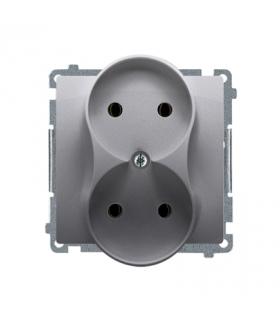 Gniazdo wtyczkowe podwójne bez uziemienia z przesłonami torów prądowych inox, metalizowany 16A BMG2MZ.01/21