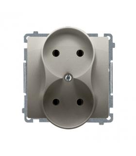 Gniazdo wtyczkowe podwójne bez uziemienia z przesłonami torów prądowych satynowy, metalizowany 16A BMG2MZ.01/29