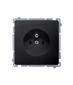 Gniazdo wtyczkowe pojedyncze z uziemieniem z przesłonami torów prądowych grafit mat, metalizowany 16A BMGZ1Z.01/28