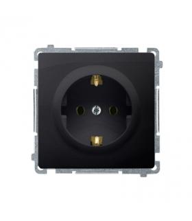 Gniazdo wtyczkowe pojedyncze z uziemieniem typu Schuko grafit mat, metalizowany 16A BMGSZ1.01/28