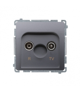 Gniazdo antenowe R-TV końcowe separowane tłum.1dB inox, metalizowany BMZAR1/1.01/21