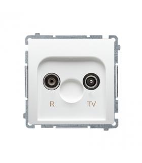 Gniazdo antenowe R-TV przelotowe tłum.10dB biały BMZAP10/1.01/11