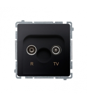 Gniazdo antenowe R-TV przelotowe tłum.10dB grafit mat, metalizowany BMZAP10/1.01/28