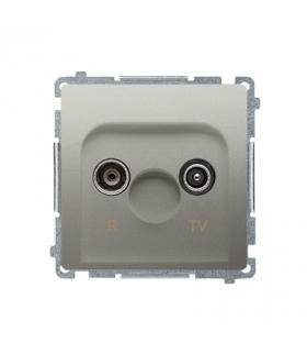 Gniazdo antenowe R-TV przelotowe tłum.10dB satynowy, metalizowany BMZAP10/1.01/29