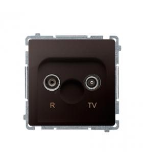 Gniazdo antenowe R-TV przelotowe tłum.10dB czekoladowy mat, metalizowany BMZAP10/1.01/47