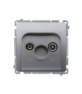 Gniazdo antenowe R-TV przelotowe tłum.10dB srebrny mat, metalizowany BMZAP10/1.01/43