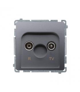 KONIEC PRODUKCJI - DOSTEPNY DO WYCZERPANIA STANÓW MAGAZYNOWYCH gniazdo antenowe R-TV przelotowe tłum.16dB inox, metalizowany BMZ