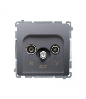 Gniazdo antenowe R-TV-SAT przelotowe tłum.10dB inox, metalizowany BMZAR-SAT10/P.01/21