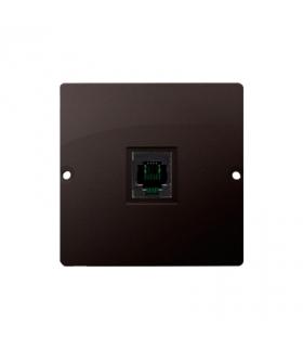 Gniazdo telefoniczne pojedyncze RJ11 (moduł) czekoladowy mat, metalizowany BMTU.01/47
