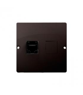 Gniazdo telefoniczne pojedyncze RJ12 (moduł) czekoladowy mat, metalizowany BMT1.02/47
