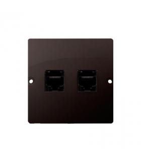 Gniazdo telefoniczne podwójne RJ11 (moduł) czekoladowy mat, metalizowany BMTF2.02/47