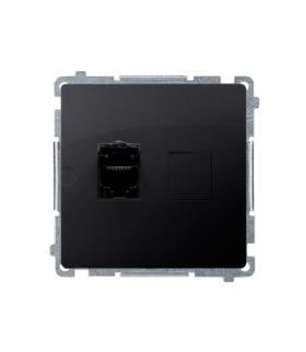 Gniazdo komputerowe pojedyncze ekranowane RJ45 kategoria 6, z przesłoną przeciwkurzową (moduł) grafit mat, metalizowany BM61E.01