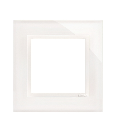 Ramka 1-krotna szklana biała perła DRN1/70