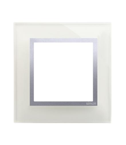 Ramka 1-krotna szklana srebrna mgła DRN1/71