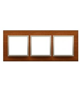 Ramka 3- krotna drewniana złoty orzech DRN3/86