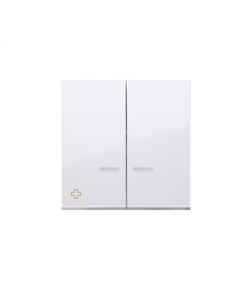 Klawisz podwójny do łączników i przycisków podświetlanych antybakteryjny biały DKW5L/AB11