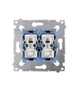 Łącznik schodowy podwójny z podświetleniem (mechanizm) 10AX 250V, szybkozłącza, SW6/2XLM