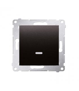 Łącznik jednobiegunowy z podświetleniem LED (moduł) 10AX 250V, szybkozłącza, antracyt, metalizowany DW1L.01/48