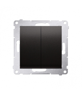 Przycisk podwójny zwierny. Dwuobwodowy 2 wejścia, 2 wyjścia. (moduł) 10AX 250V, szybkozłącza, antracyt, metalizowany DP2.01/48