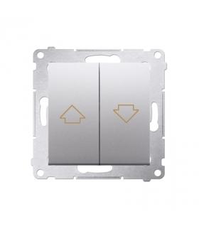 Przycisk żaluzjowy pojedynczy srebrny mat, metalizowany 10A DZP1.01/43