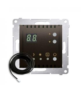 Regulator temperatury z wyświetlaczem z czujnikiem zewnętrzym (sonda) brąz mat, metalizowany DTRNSZ.01/46