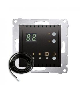 Regulator temperatury z wyświetlaczem z czujnikiem zewnętrzym (sonda) antracyt, metalizowany DTRNSZ.01/48