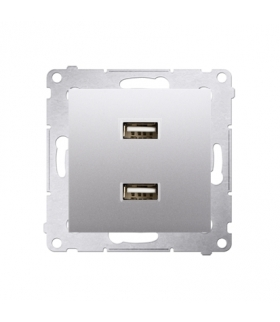 Ładowarka USB podwójna srebrny mat, metalizowany DC2USB.01/43