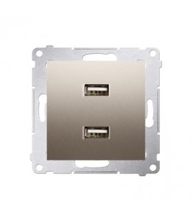 Ładowarka USB podwójna złoty mat, metalizowany DC2USB.01/44