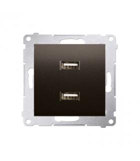 Ładowarka USB podwójna brąz mat, metalizowany DC2USB.01/46