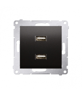 Ładowarka USB podwójna antracyt, metalizowany DC2USB.01/48