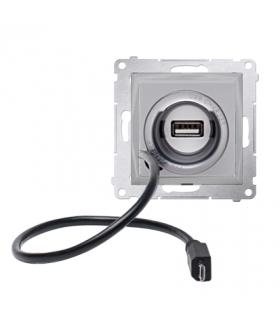 WYCOFANY Z OFERTY - Dostępny do wyczerpania zapasów magazynowych, Ładowarka USB i micro-USB srebrny mat, metalizowany D75405.01/