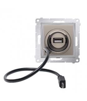 WYCOFANY Z OFERTY - Dostępny do wyczerpania zapasów magazynowych, Ładowarka USB i micro-USB złoty mat, metalizowany D75405.01/44