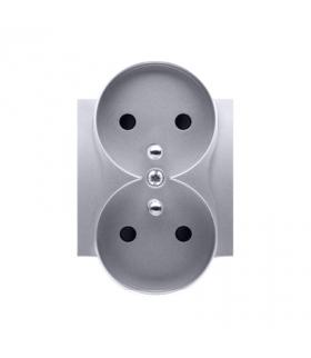 Pokrywa do gniazda podwójnego z uziemieniem - do ramek NATURE srebrny mat, metalizowany DGZ2MZNP/43