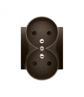 Pokrywa do gniazda podwójnego z uziemieniem - do ramek NATURE brąz mat, metalizowany DGZ2MZNP/46