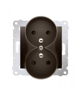 Gniazdo podwójne z uziemieniem z przesłonami - do Ramek PREMIUM (moduł) 16A 250V, zaciski śrubowe, brąz mat, metalizowany DGZ2MZ