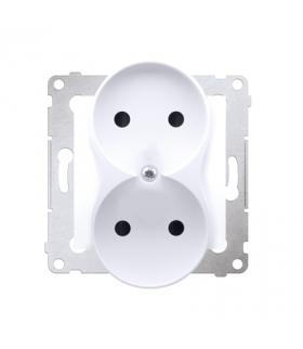 Gniazdo podwójne bez uziemienia z przesłonami do ramek Premium (moduł) 16A 250V, zaciski śrubowe, biały DG2MZ.01/11