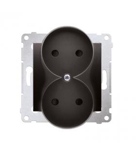 Gniazdo podwójne bez uziemienia z przesłonami do ramek Nature (moduł) 16A 250V, zaciski śrubowe, antracyt, metalizowany DG2MZN.0