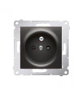 Gniazdo pojedyncze z uziemieniem z przesłonami do ramek Nature do ramek Premium (moduł) 16A 250V, zaciski śrubowe, antracyt, met