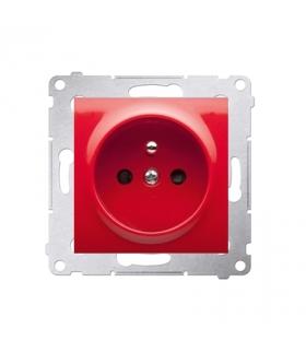 Gniazdo pojedyncze z uziemieniem z przesłonami do ramek Nature do ramek Premium (moduł) 16A 250V, zaciski śrubowe, czerwony DGZ1