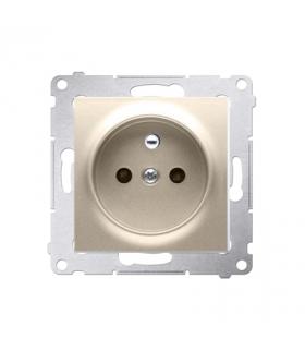 Gniazdo pojedyncze z uziemieniem z przesłonami do ramek Nature do ramek Premium (moduł) 16A 250V, szybkozłącza, złoty mat, metal