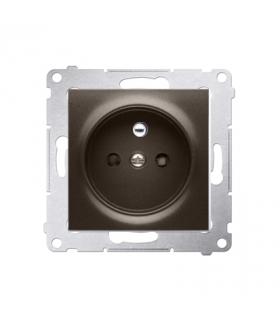 Gniazdo pojedyncze z uziemieniem z przesłonami do ramek Nature do ramek Premium (moduł) 16A 250V, szybkozłącza, brąz mat, metali