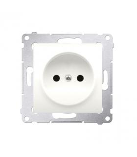 Gniazdo podjedyncze bez uziemienia z przesłonami do ramek Nature do ramek Premium (moduł) 16A 250V, zaciski śrubowe, kremowy DG1