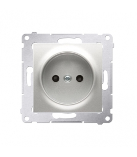 Gniazdo podjedyncze bez uziemienia z przesłonami do ramek Nature do ramek Premium (moduł) 16A 250V, zaciski śrubowe, srebrny mat